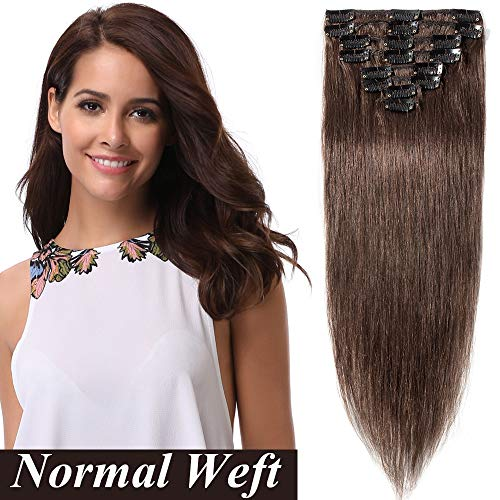 "Extension a Clip Cheveux Extentions Cheveux Clip Marron SEGO ® [Basic Epaisseur] 8 Bands a 18 Clips Clip in Hair Extension - 100% Human Hair 10""(25cm)"