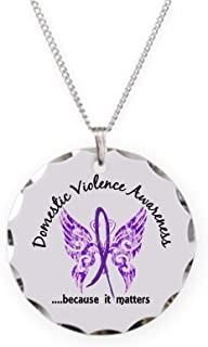 CafePress Domestic Violence Butterfly Charm Necklace with Round Pendant