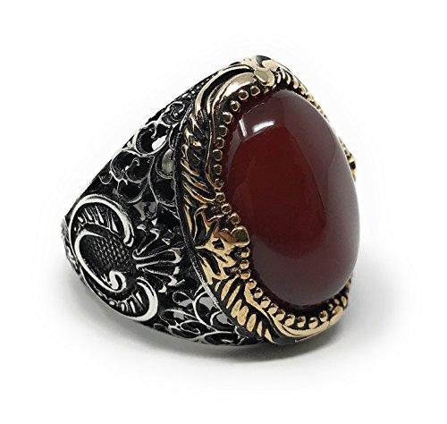 KAR 925K Stamped Sterling Silver Red Agate (Aqeeq) Men