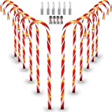 Hokyzam 12 Pack Christmas Candy Cane Lights , Pathway Lights Maker Christmas Decorations Waterproof Candycane 20 Inch Lights Decoration Lights for Outdoor Yard Lawn Indoor