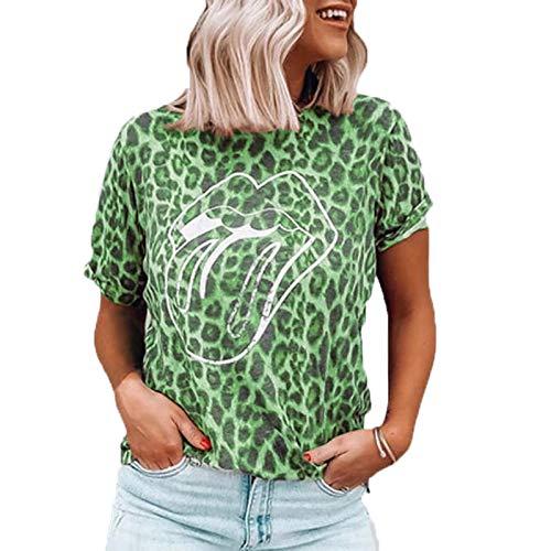SLYZ 2021 Señoras Europeas Y Americanas Tallas Grandes Personalidad De La Moda Labios Camiseta con Estampado De Leopardo Blusa De Manga Corta