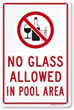 SmartSign-K-8183-PL 'No Glass Allowed In Pool' Sign | 10' x 15' Plastic
