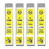 Go Inks E-714 - Cartuchos de tinta compatibles para Epson T0714 (4 unidades), color amarillo