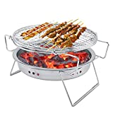 Garosa Mini Charcoal <span class='highlight'><span class='highlight'>BBQ</span></span> <span class='highlight'>Grill</span> <span class='highlight'>Stainless</span> <span class='highlight'>Steel</span> <span class='highlight'>Folding</span> <span class='highlight'>Portable</span> Round Barbecue Stove for Outdoor Cooking Camping Hiking Picnics Tailgating Backpacking Kabob Yakitori