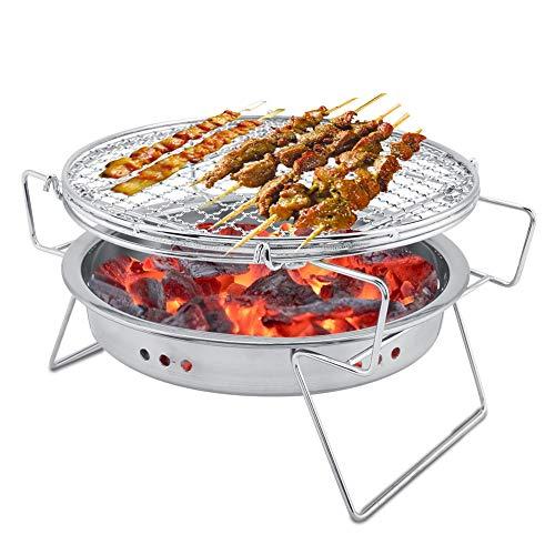 Garosa Mini Houtskool BBQ Grill RVS Vouwen Draagbare Ronde Barbecue Fornuis voor Outdoor Koken Camping Wandelen Picnics Tailgating Backpacking Kabob Yakitori