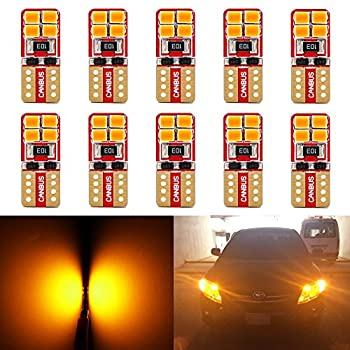Phinlion Super Bright 2835 SMD LED Bulbs for Car Interior Dome Map Door Courtesy License Plate Lights Wedge T10 168 194 2825 Amber Yellow  10 Pack