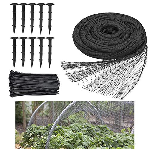 Yontree Red de jardín, red de 4 m x 10 m, red de malla para jardín, cubierta para estanque, red antipájaros con 10 clavijas de jardín, 100 bridas para proteger plantas, color negro