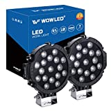 WOWLED 2 Pcs 51W 7inch LED Driving Light Spot Beam Work Lamp Offroad SUV 4WD 4X4 Truck Boat