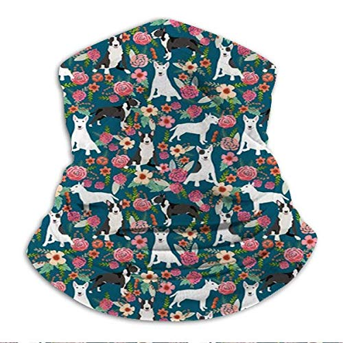 Xebcivso Bull Terrier Black and White Floral Dog Florals Dark Blue Microfiber Neck Warm Balaclava Turban for UV Protection and Sun Protection