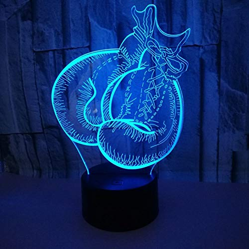 SXMXO 3D Boxhandschuhe Lampe USB Power 7 Farben Amazing Optical Illusion 3D LED Lampe Formen Kinder Schlafzimmer Nacht Licht,B