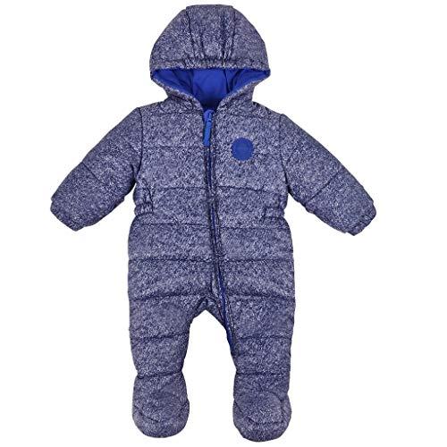 Baby Mädchen Schneeanzug Overall Winter Säugling mit Kapuze Strampler Outfits Kleinkind Baumwolle Dick Gepolstert Blau 6-12 Monate