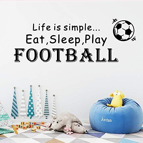 Tianpengyuanshuai citaat van de voetballer 3D vinyl zelfklevend behang sticker kinderkamer kinderkamer kinderkamer deco phrase zwart XL 58 cm x 163 cm