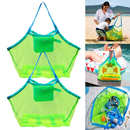 WOLLGORD Mesh Beach Bags, 2 Pack Large Beach Bags, Totes Toys & Shell Storage Bag for Kid's Beach Sand Toys Away from Sand, Pool Supplies Storage Bags Picnic Backpack, Market Grocery Picnic Tote