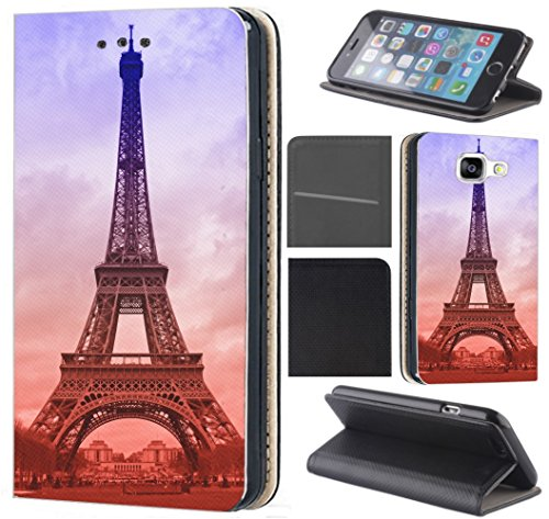 CoverHeld Xiaomi Redmi Note 8T Hülle - Handyhülle für Xiaomi Redmi Note 8T - Schutzhülle aus Kunstleder Design 1089 Eifelturm Paris Frankreich Blau Braun Klapphülle Beidseitig Cover