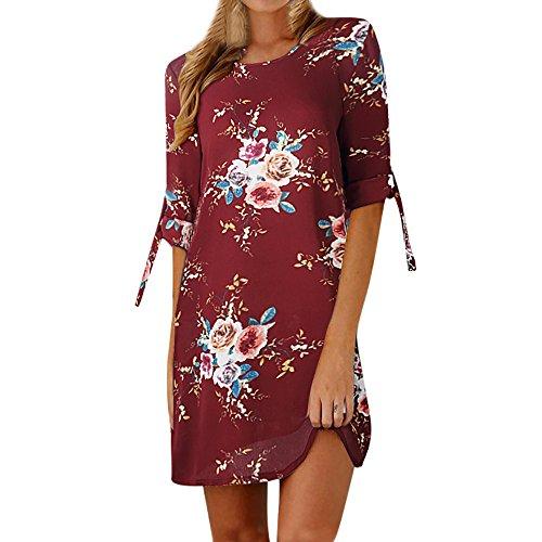 Xmiral Damen Kleid damen Blumendruck Bowknot Ärmel Cocktail Minikleid Partykleider O-Ansatz Bohemien Chiffon Elegant(M,Wein Rot)