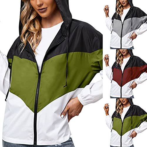 Chubasquero para mujer, impermeable, transpirable, para exteriores, con capucha, cortavientos, parka funcional, chaqueta para mujer, transpirable, impermeable, Verde militar., S