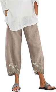 Pantalones Mujer Anchos De Verano,Mujeres Casual Daisy Print Bordado AlgodóN Lino Cintura EláStica Pantalones Anchos De Pi...