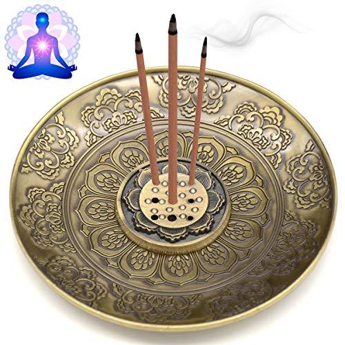 OMyTea Incense Stick Holder - Brass Incense Burner with Ash Catcher for Meditation, Yoga, Home...