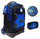 Mochila escolar del F.C. Inter de 3 ruedas con mochila desmontable de la colección Seven + estuche con cremallera Quick Case + balón y llavero de fútbol