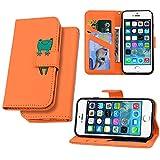 LEINUO Funda Apple iPhone 6/iPhone 6s con Tapa Funda para,Funda Cartera para Carcasa, Divertido Dibujo Animados Ranura para Tarjeta Soporte Plegable Cierre Magnético,Rana Naranja