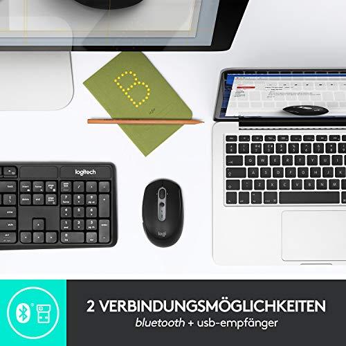 Logitech M590 Silent Kabellose Maus, Bluetooth und 2.4 GHz Verbindung via Unifying USB-Empfänger, 1000 DPI Optischer Sensor, 2-Jahre Akkulaufzeit, PC/Mac - Graphite/Schwarz