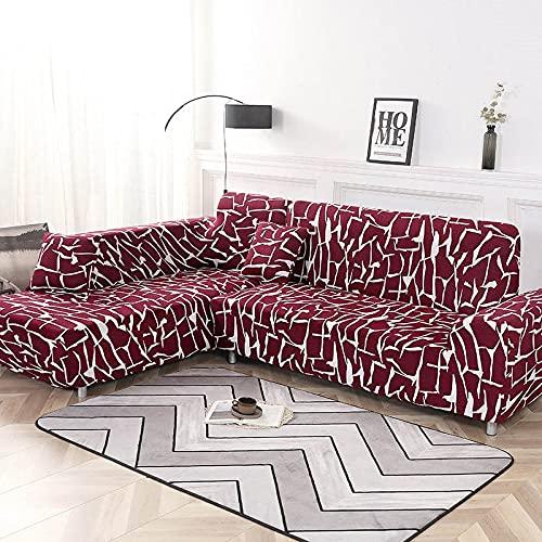 WXQY Fundas elásticas Fundas elásticas para sofá, protección para Mascotas, Funda para sofá, Esquina en Forma de L Antideslizante, Funda para sofá Antideslizante A8, 3 plazas