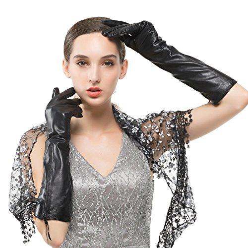 Nappaglo Damen Lange Nappaleder Handschuhe Touchscreen Texting Abendkleid Party Winter Warm Fausthandschuhe (S (Umfang der Handfl?che:16.5-17.8cm), Schwarz(Touchscreen))