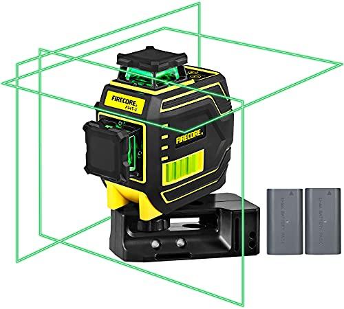 Firecore nivel laser Autonivelante 3D ,3X360 ° Nivel laser verde ,25m nivelador láser y Hasta 50m en Modo de Pulso exterior, con 2 batería de litio recargable,Base Magnética (F94T-XG)