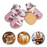 PETLOFT Hund Schuhe, Reflektierend rutschfest Dog Shoes 4pcs Welpenstiefel mit Einstellbar Verschlussriemen für Kleine Mittel Hunde, Pfoten Schützen Einfach anzuziehen Täglicher Gebrauch (XXXS, Rosa)