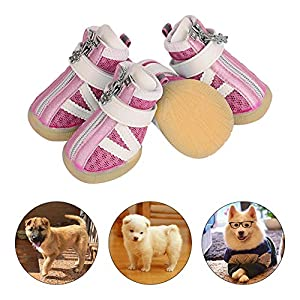 PETLOFT Small Dog Shoes, Reflective Slip Resistant 4pcs Dog Puppy Boots Booties Pet Sneakers with Adjustable Fastener Strap for Small Medium Dogs, Protect Paws Easy to Wear Daily Use, XXS, Pink