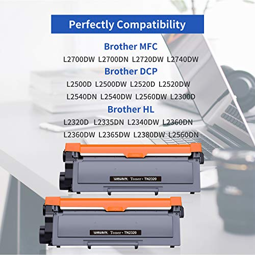 Wewant Toner TN 2320 Reemplazo para Brother TN2320 TN2310 Cartucho de Tóner Compatible con Brother MFC-L2700DW L2720DW L2740DW, DCP-L2500D L2520DW L2540DW L2560DW, HL-L2300D L2340DW L2360DW, 2 Negro