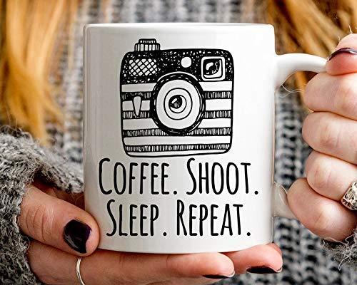N\A Regalo de fotografía, Regalo de fotógrafo, Taza de repetición de sueño de sesión de café, Taza de fotógrafo, Taza de cámara