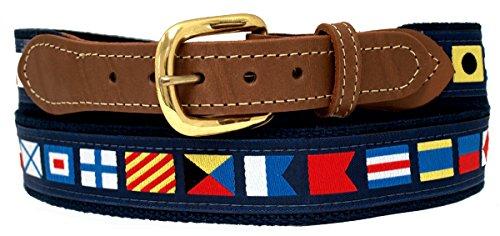 Nautical Belts, Code Flags on Navy Web 36 (Pant Waist Size 34)