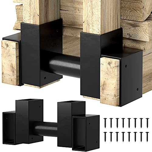 Amagabeli 2 Pack Firewood Rack Brackets 2x4 Outdoor Heavy Duty Firewood Log Storage Kit Adjustable to Any Length Height Fireplace Lumber Wood Rack Pile Holder Stacker Steel Fire Pit Accessories Black