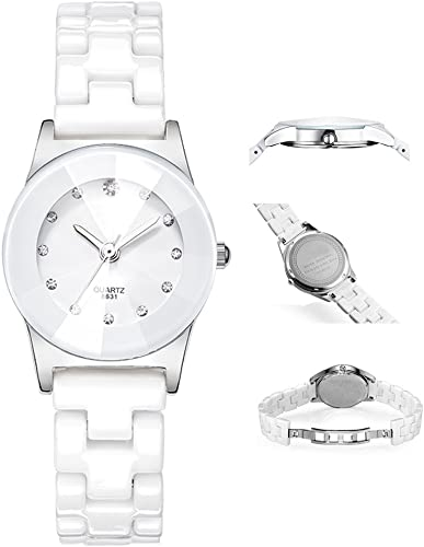 Classic Casual Quartz Analog Diamond Lady Dress Waterproof Watch with Crystal Ceramic Band for Student