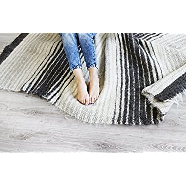 Woven Wool Area Rug Gray/Grey Striped for Living Room Natural Carpet Modern/Scandinavian Home Decor