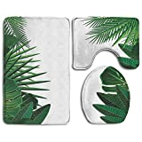 Clothes socks Exotic Fantasy Hawaiian Tropical Palm Leaves with Stylish Floral Graphic Bathroom Rug Mats Set 3 Piece,Funny Bathroom Rugs Graphic Bathroom Sets,Anti-Skid Toilet Mat Set