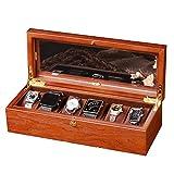 Organizadores y cajas para joyas Caja de reloj de joyería de madera Caja de exhibición de la colección de reloj de 6 bits Caja de cristal con tragaluz Con cerradura y 6 almohadas de almacenamiento ext