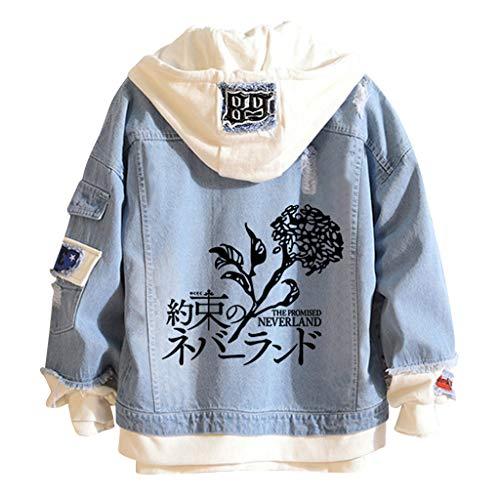 New The Promised Neverland Denim Jacket Emma Norman Ray Cosplay Hoodie Sweatshirt Cool Anime Streetwear for Men Teen (011,XL,,,)