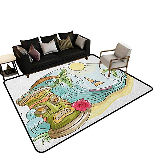 MsShe Zwembad anti-slip tapijt Tiki Bar, oude frame teken van Tiki Bar met inspirerende citaat vrije tijd Travel Print, Multi kleuren