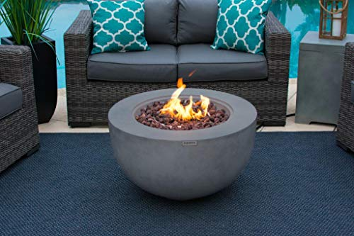 AKOYA Outdoor Essentials 30' Fiber Concrete Outdoor Propane Gas Fire Pit Table Bowl in Gray