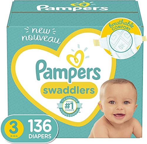 Diapers Size 3, 136 Count – Pampers Swaddlers Disposable...