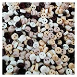 HONGYMY Botones 250 unids Natural Mixto Mini Resina Botones Redondos para muñecas Toys Soft Ropa 6mm Costura 2 Agujeros Muñecas