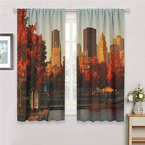 DIMICA Kitchen Curtains City Old Port of Montreal Early in The Morning Scenic Autumn Trees Buildings Canada Soundproof Privacy Window Curtains W42 x L63 Inch Red Orange Brown