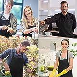 Vegena 2 Stücke Schürze, Wasserdicht Kochschürze Grillschürze Küchenschürze Latzschürze Backschürze mit 2 Taschen Verstellbarem Nackenband für Frauen Männer Damen Chef (Schwarz) - 7