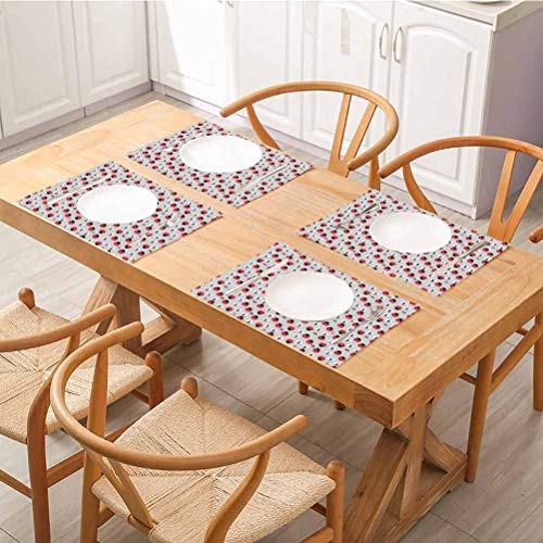 Table Mats Washable Non-Slip Heat Resistant, Ladybugs Cute Nature with Abstract Insects Trees and Flowers Pattern Cartoo, Non-Slip Absorbent Table Mats Placemats, Set of 6