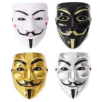Fstrend 4 Pack V for Vendetta Guy Mask Halloween Costume Cosplay Masquerade Unisex