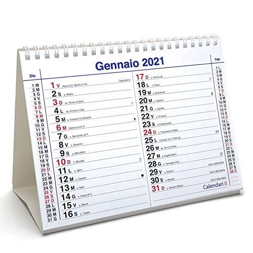 Calendario 2021 olandese santi e lune cm 20x15 da tavolo per ufficio casa e lavoro (14 FACCIATE - LIGHT - fronte mese e retro mese successivo)