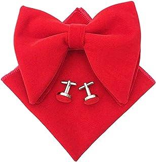Men Velvet Oversized Bow Tie Pocket Square Cufflinks Set Bowtie Hanky Cuff Links