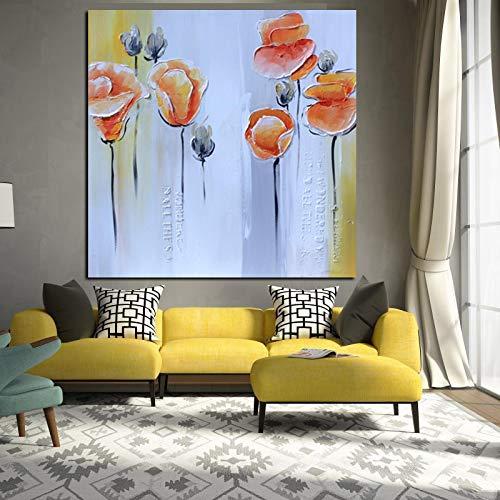 HGlSG Sin marcoImprimir Resumen Cuchillo Naranja Flor de Amapola Pintura al óleo Pop Art Poster en Lienzo Moderno Cuadro de la40x48cm